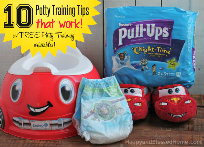 10 Potty Training tips that work with FREE Potty Training Printables and Huggies Pull-Ups Training Pants from HappyandBlessedHome.com
