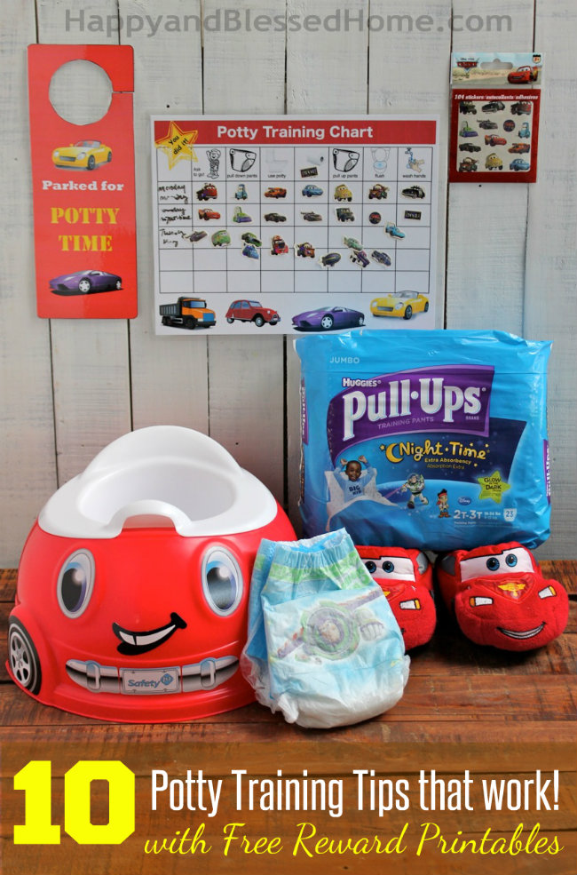 10 Potty Training tips that work with Huggies Pull-Ups Training Pants and free potty training printables from HappyandBlessedHome.com