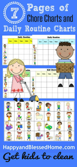 250 FREE Chore Charts to help get Kids to Clean from HappyandBlessedHome