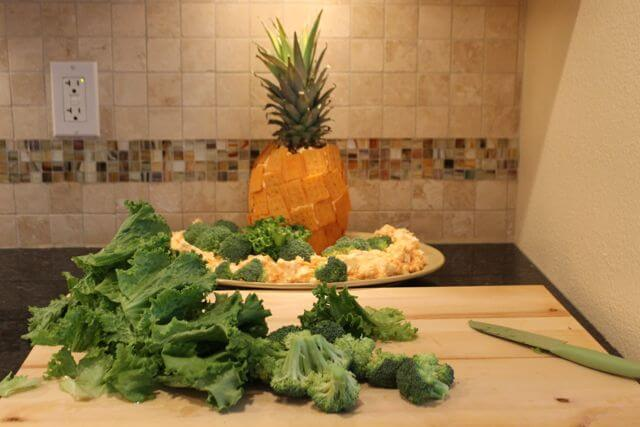Add Greens to Pineapple for Football Party Fun with FREE Planning Printables and Cheez-It and Pringles Recipes from HappyandBlessedHome.com