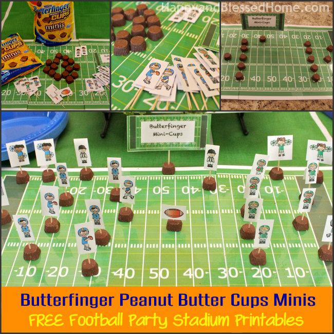 Butterfinger Peanut Butter Cups Minis with FREE Football Party Stadium Printable from HappyndBlessedHome.com