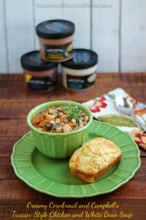 Creamy Cornbread Recipe and Campbell's® Tuscan-Style Chicken and White Bean Soup from HappyandBlessedHome.com