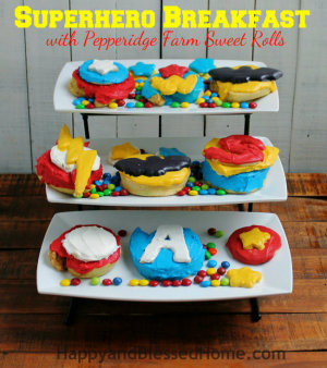 Create your own Superhero Breakfast with Pepperidge Farm Sweet Rolls All the Avengers and Superheros from HappyandBlessedHome.com