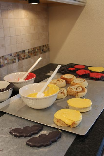 Create your own Superhero Breakfast with Pepperidge Farm Sweet Rolls Decorate Batman 2 from HappyandBlessedHome.com