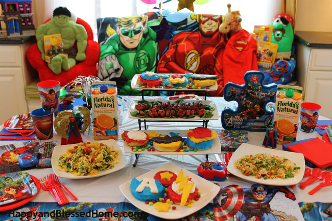 Create your own Superhero Breakfast with Pepperidge Farm Sweet Rolls Party Set Up from HappyandBlessedHome.com