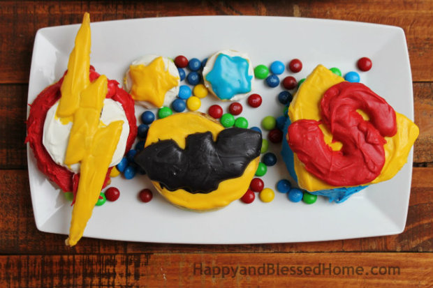 Create your own Superhero Breakfast with Pepperidge Farm Sweet Rolls with Flash Batman and Superman from HappyandBlessedHome.com