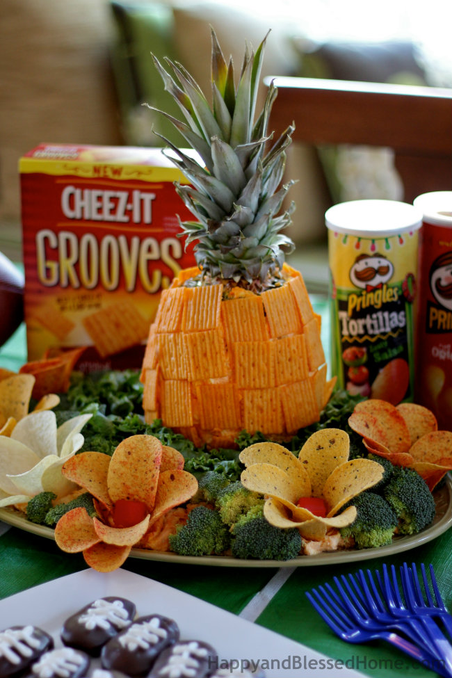 Creating the Perfect Pineapple Centerpiece for your Football Party from HappyandBlessedHome.com