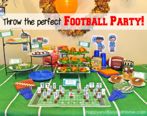 DIY Football Stadium with New ButterFinger® Peanut Butter Cups Minis and FREE Printables from HappyandBlessedHome.com