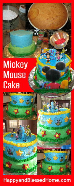 DIY Mickey Mouse Cake Recipe and Ingredients for a Mickey Mouse Birthday Party from HappyandBlessedHome.com