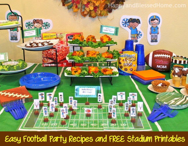 Easy Football Party Recipes and FREE DIY Football Stadium Printables with New ButterFinger® Peanut Butter Cups Minis from HappyandBlessedHome.com