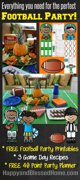 FREE Football Party Printables with FREE 40 Point Party Planner and Cheez-It and Pringles Pineapple Recipe from HappyandBlessedHome.com