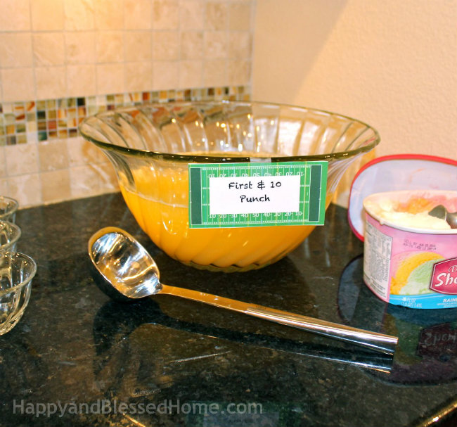 Football Themed Party Punch First and Ten Game Day Punch from HappyandBlessedHome.com