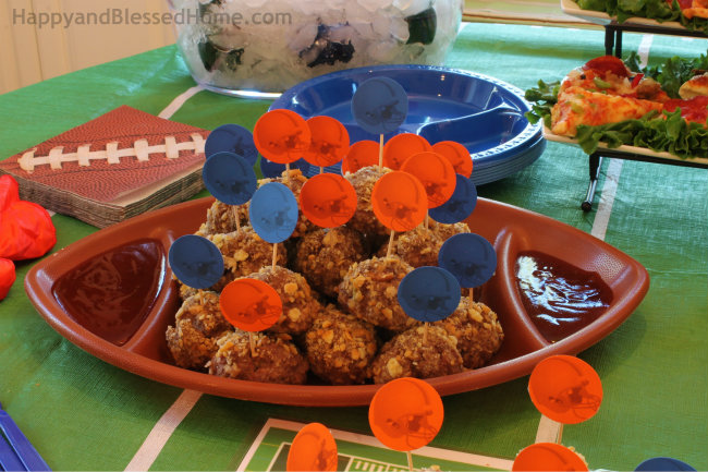 Fun Stadium of Football Fans with Ritz Cracker Meatballs and FREE Football Party Printables from HappyandBlessedHome.com