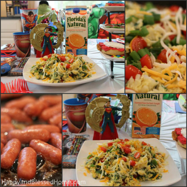 Large Scrambled Eggs Collage for A Superhero Breakfast with Pepperidge Farm Sweet Rollsfrom HappyandBlessedHome.com