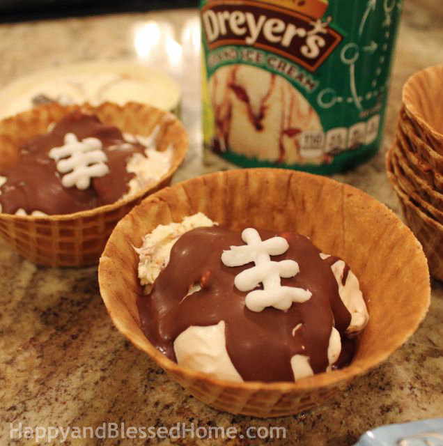 Limited Edition Dreyer's Grand Ice Cream Touchdown Sundae Recipe Football Party Single Serve Desserts from HappyandBlessedHome
