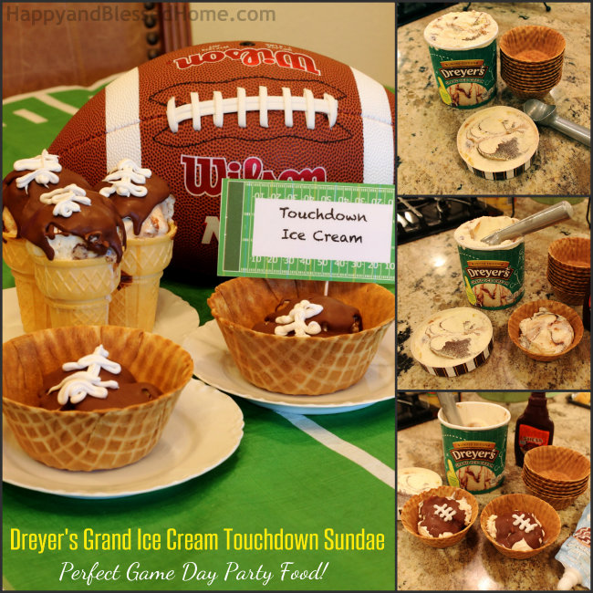 Limited Edition Edy's or Dreyer's Grand Ice Cream Touchdown Sundae Perfect Game Day party food from HappyandBlessedHome.com