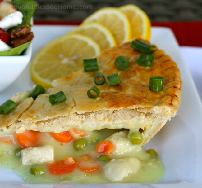 Marie Callender's Pot Pie with lemon and my Favorite Fruit and Nut Salad from HappyandBlessedHome.com