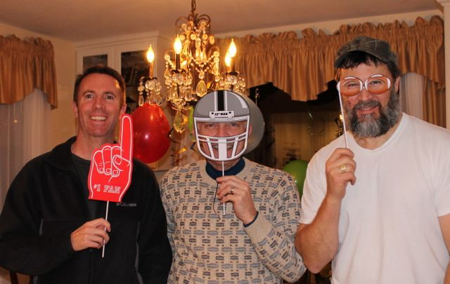 Men Photo Op and Half Time Football Party fun The Perfect Party Plan for the Big Game with FREE Football Party Printables from HappyandBlessedHome