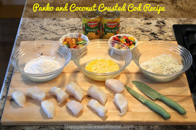 Panko and Coconut Crusted Cod Recipe with Del Monte Mango Salsa from HappyandBlessedHome.com