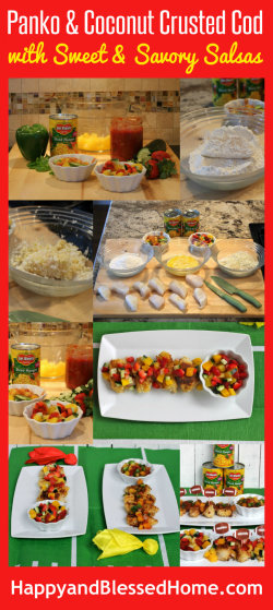 Panko and Coconut Crusted Cod and Sweet and Savory Mango Salsa Recipes from HappyandBlessedHome.com