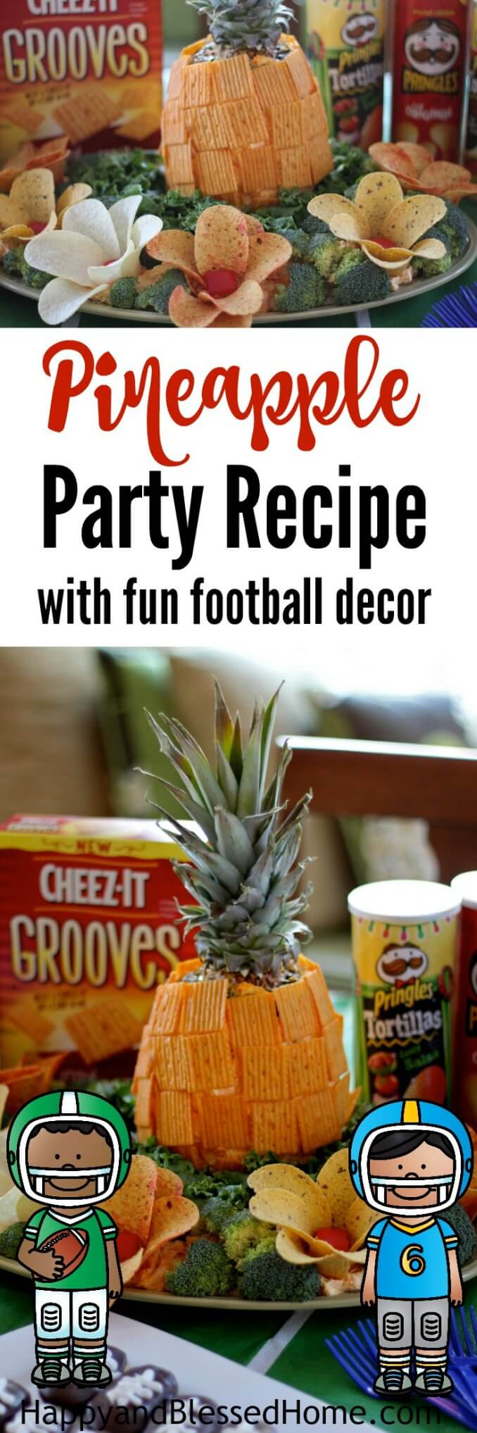 Pineapple Party Recipe with fun football decor