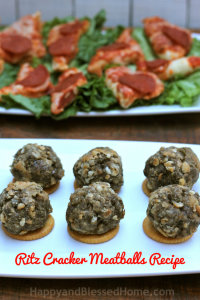 Ritz Cracker Meatballs Recipe and Football Party Games and Recipes from HappyandBlessedHome.com