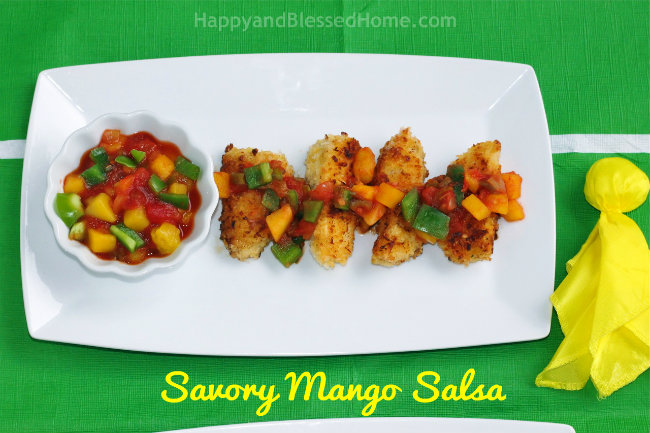 Savory Del Monte Diced Mango Salsa with Panko and Coconut Crusted Cod Fish from HappyandBlessedHome.com