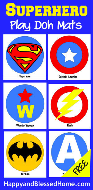 Superhero Play Doh Mats Fun Activity for Kids from HappyandBlessedHome.com