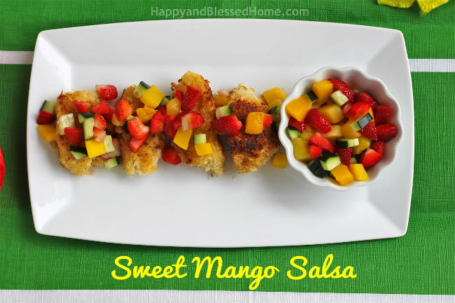 Sweet Del Monte Diced Mango Salsa with Panko and Coconut Crusted Cod Fish from HappyandBlessedHome.com