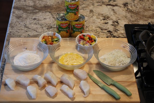Sweet or Savory? Panko and Coconut Crusted Cod and Mango Salsa Recipes Set out Bowls to Coat Fish from HappyandBlessedHome