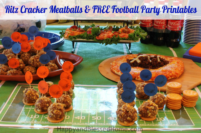 The Perfect Party Plan for the Big Game with Ritz® Cracker Meatballs and FREE Football Party Printables and Meatball Football Players from HappyandBlessedHome.com