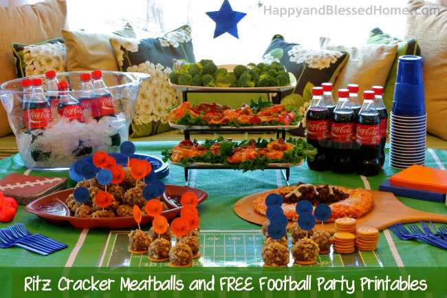 The Perfect Party Plan for the Big Game with Ritz® Cracker Meatballs and FREE Football Party Printables from HappyandBlessedHome.com