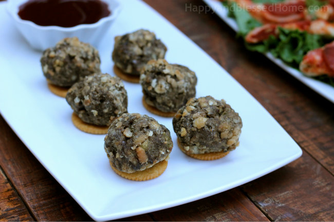 The Perfect Party Plan for the Big Game with Ritz Cracker Meatballs and FREE Football Party Printables Meatballs Up Close from HappyandBlessedHome.com