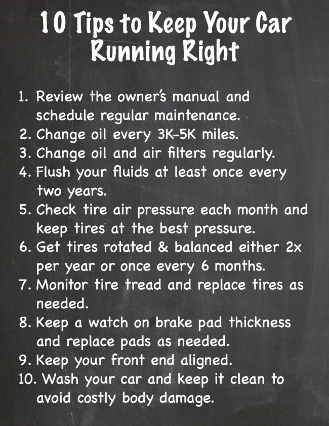 10 Tips to Keep your Car Running Right