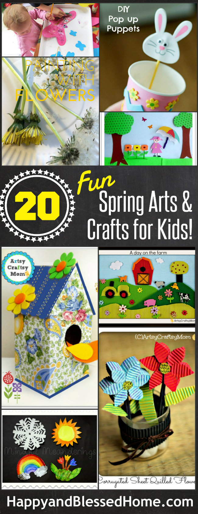 20 Fun Spring Arts and Crafts for Kids with over 90 ideas all-together from HappyandBlessedHome.com