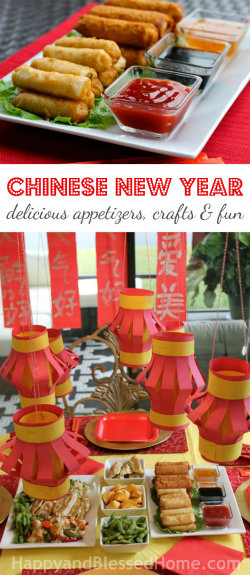 250 Chinese New Year with delicious recipe ideas, free printables for kids, red lantern craft, and red spring scroll craft from HappyandBlessedHome