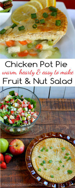 250 Marie Callender's Chicken Pot Pie and my Favorite Apple Pecan Fruit and Nut Salad Recipe from HappyandBlessedHome