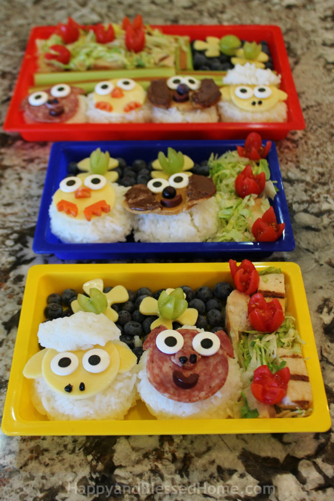 All three bento boxes for Farm Animals in Bento Boxes with FREE Printable Placemats from HappyandBlessedHome.com