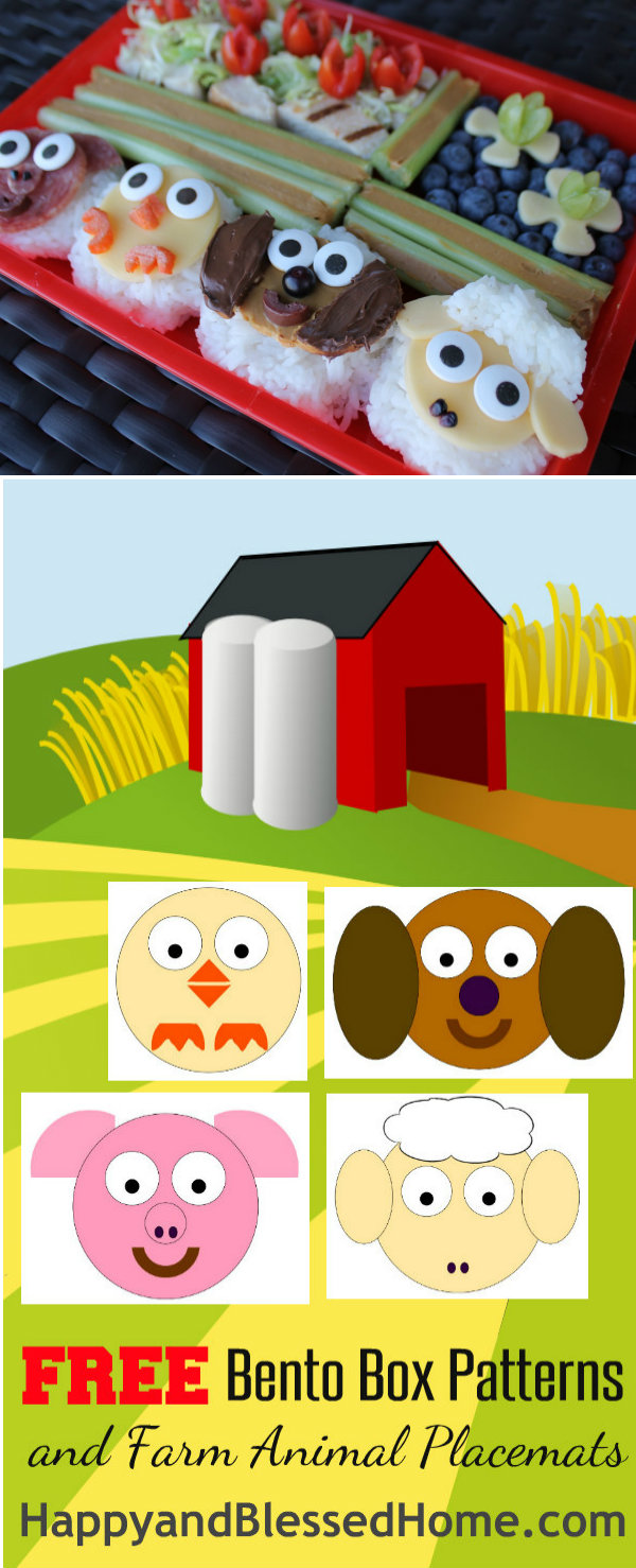 bento box photo with free printables for free bento box patterns and free farm animal placemats