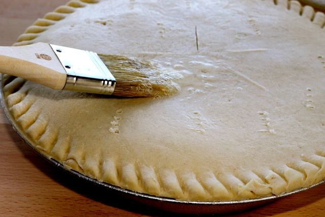 Brush Egg White on Crust for Brown Crust on Marie Callender's Pot Pie from HappyandBlessedHome