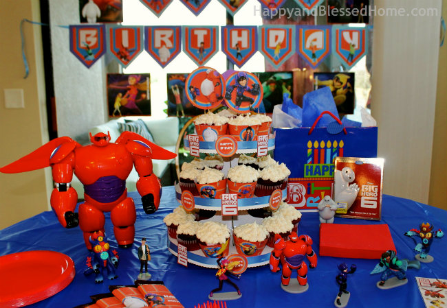 Cake and Party Decor for Big Hero 6 Birthday Party and Big Hero 6 DVD Movie Launch from HappyandBlessedHome.com