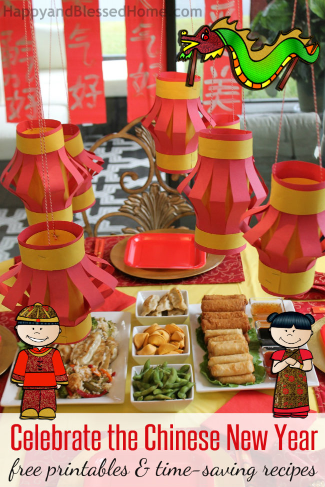 celebrate the chinese new year with free printables for kids and time saving recipes from happyandblessedhome - Chinese New Year Party