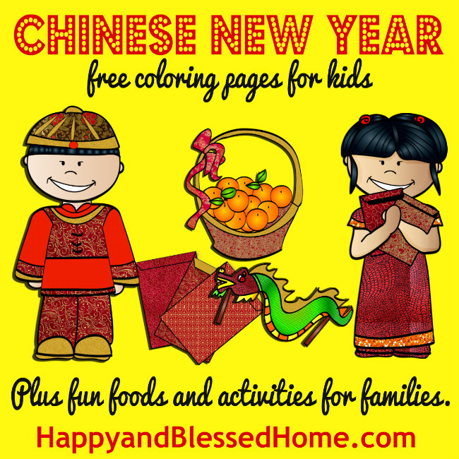 Chinese New Year - free coloring pages for kids plus fun foods and activities for families from HappyandBlessedHome.com