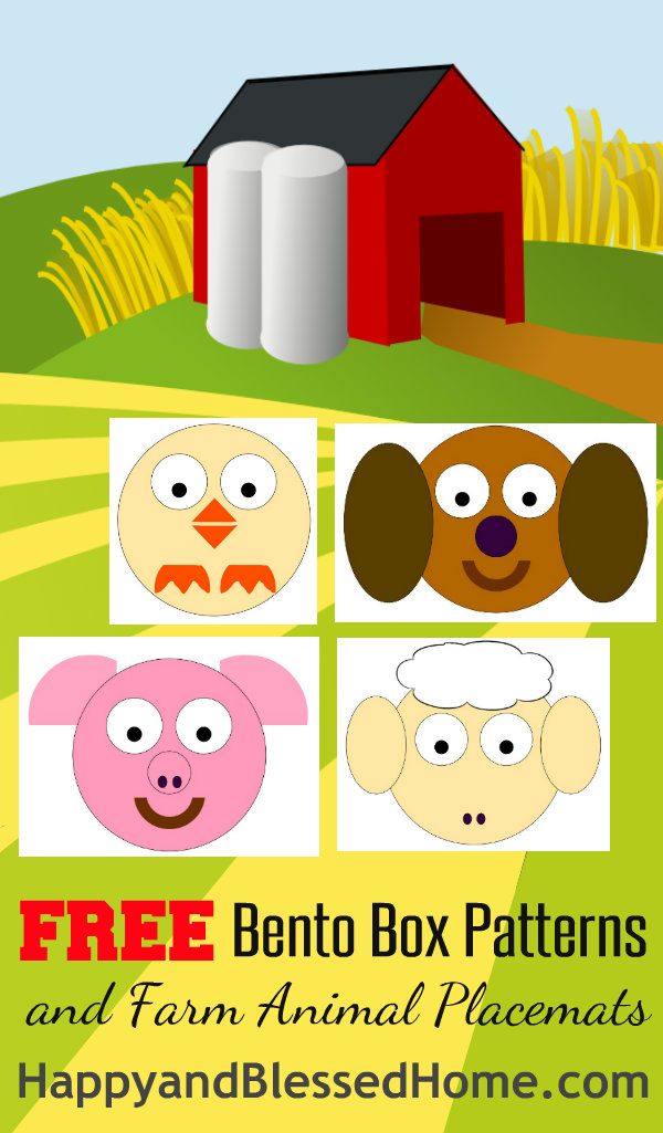 FREE Bento Box Patterns and Farm Animal Placemats