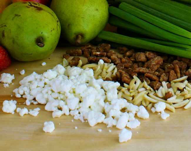 Feta Cheese and Nuts for Marie Callender's Pot Pie and my Favorite Apple Pecan Fruit and Nut Salad from HappyandBlessedHome