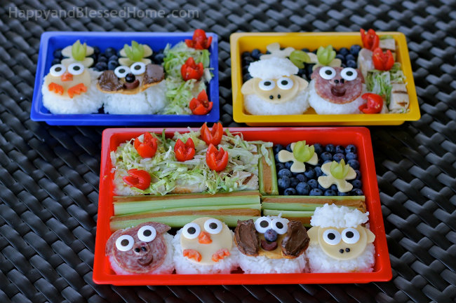 Food Fun for Kids Farm Animals in Bento Boxes with FREE Printable Placemats from HappyandBlessedHome.com
