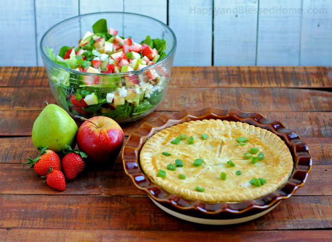 Full Size Servings of Marie Callender's Pot Pie and my Apple Pecan Fruit and Nut Salad from HappyandBlessedHome.com