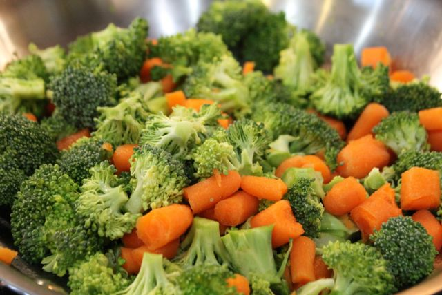 Heat broccoli and carrots