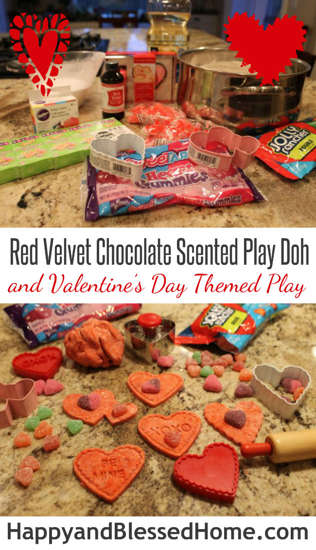 Sensory Doh Fun with Red Velvet Chocolate Themed Sensory Doh and Valentine's Day Play from HappyandBlessedHome.com