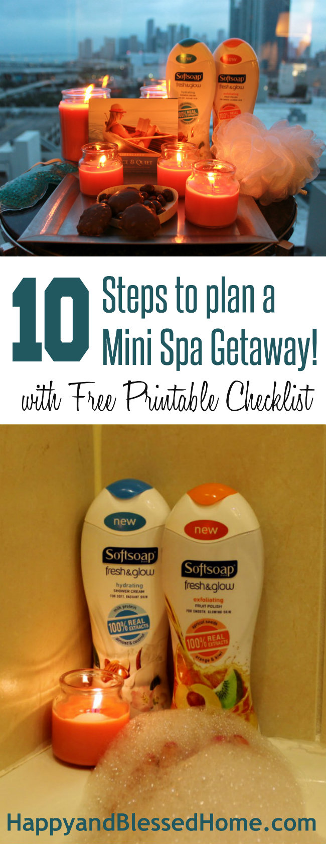 10 Steps to Plan a Mini Spa Getaway with FREE Printable Checklist from HappyandBlessedHome.com